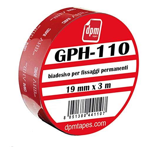 3M VHB - Nastro Biadesivo GPH110 per fissaggio permanente (19 mm x 3 m) - 1 pezzo