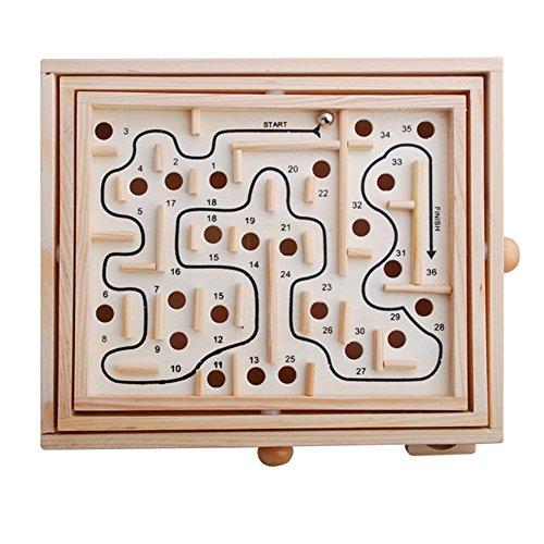 BYM Labyrinth Kinder Holzspielzeug Brettspiele Spiel mit Kugel Geschicklichkeitsspiel Kinder Pädagogisches Spielzeug