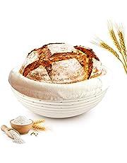 Cesta de fermentación redonda, diámetro de 25 cm, altura de 8,5 cm, cesta para pan y masa, cuenco de ratán