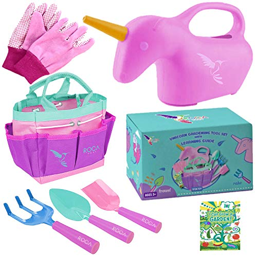 Kids Gardening Set - Unicorn Gifts for Girls - Outdoor Toys – Includes Unicorn Watering Can and Kids Gardening Gloves – Toddler Home Gardening
