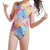 LFANH Girls Impreso Color Matching Swimsuits De Baño Una Pieza Trajes De Baño Trajes De Baño Guardia Rash UPF 50+,M