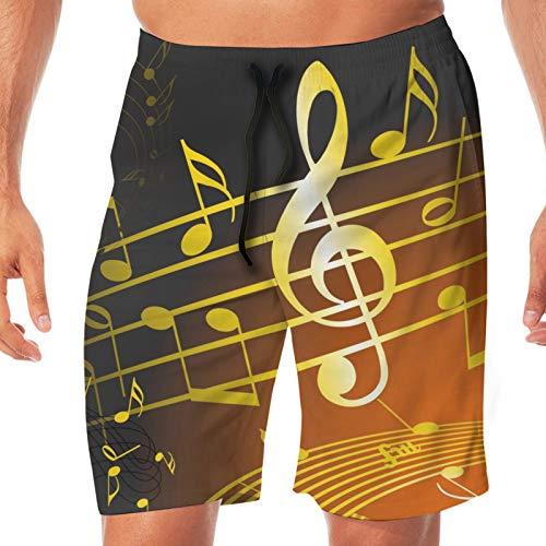 TYUO Pantalones cortos de playa para hombre, color dorado, nota musical, traje de baño