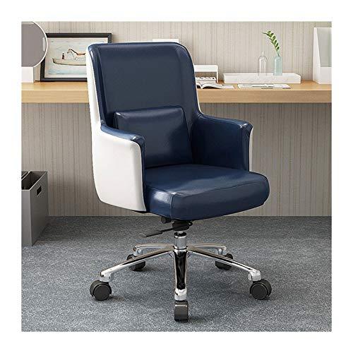 QIAOLI Silla de oficina giratoria de piel sintética para muebles de escritorio, ergonómica, ajustable y con reposabrazos (para hombres y mujeres) (color azul)