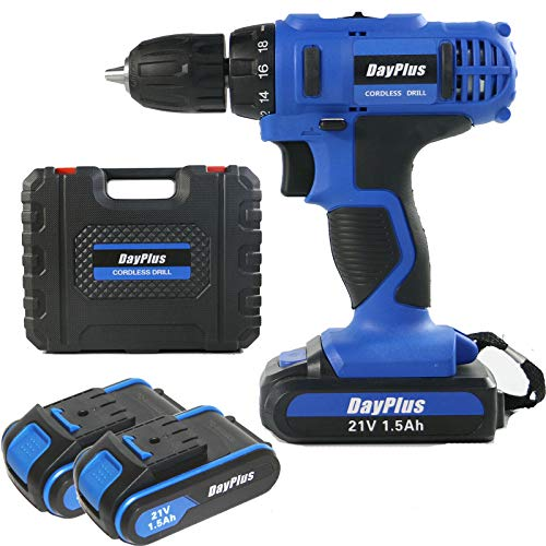 Power Cordless Drill Driver Kit, Drill Impact 21V Cordless Drill Combi 2 Speed Li-ion Battery 18+1 Torque with 14mm 17mm 19mm 22mm Socket, Charger & Carry Case