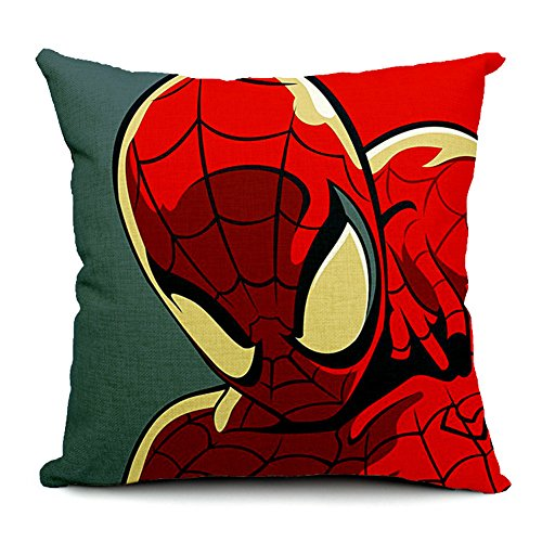 Spider-Man Cotton Linen Decorative Throw Pillow Case Cushion Cover, 17.7' x 17.7'