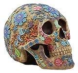 Gifts & Decor Ebros Colorful Day of The Dead Floral Sugar Skull Statue Dias De Los Muertos Flora and Fauna Flower Skeleton Head Sculpture