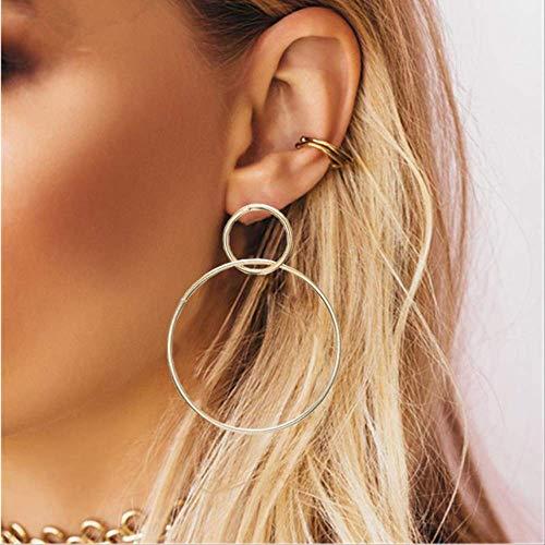Ear Pins Earring voor vrouwen Simpleplated geometrische grote ronde oorbellen Big Hollow Drop Oorbellenez39jin