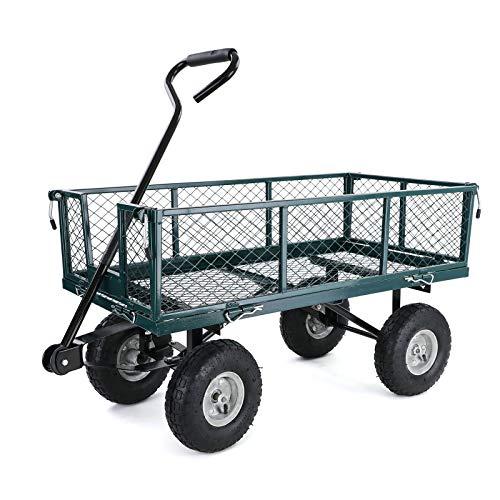 RAMROXX 34168 Transport Gitterwagen Handwagen Bollerwagen Seitenteile klappbar bis 300kg Grün