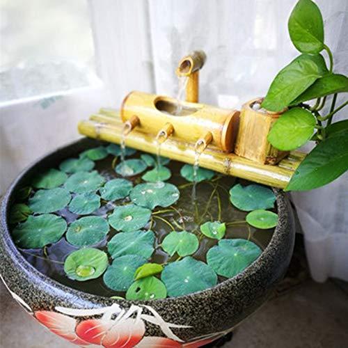ZLBIN Fontana bambù, Gioco d\'Acqua in bambù,per Bagno per Uccelli,Acquario,Stagno O Decorazione del Giardino,30cm