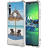 guchaolu Compatible con Moto G8 Plus (G8+) modelo funda de teléfono con mar, tumbonas de madera frente al océano oriental bajo un paraguas de paja en Zanzíbar,