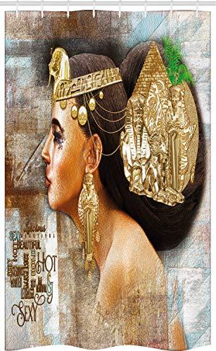 ABAKUHAUS Egyptische Douchegordijn, Queen Cleopatra, voor Douchecabine Stoffen Badkamer Decoratie Set met Ophangringen, 120 x 180 cm, Veelkleurig