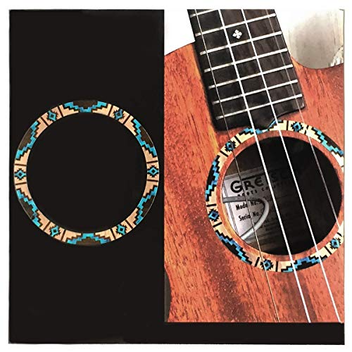 Adhesivo con incrustaciones para ukelele soprano – Roseta/Purfling – Patrón nativo americano – Natural