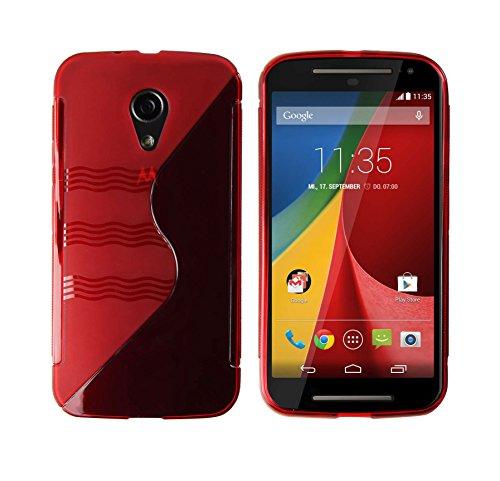 Luxburg® S-Line Design Schutzhülle für Motorola Moto G 2. Generation in Farbe Feuerrot/Rot, Hülle Hülle aus TPU Silikon