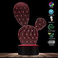 リモコン、3Dサボテン形状デザインランプ3D目の錯覚常夜灯砂漠の植物現代的なLEDビジュアルランプ家の装飾テーブルランプ