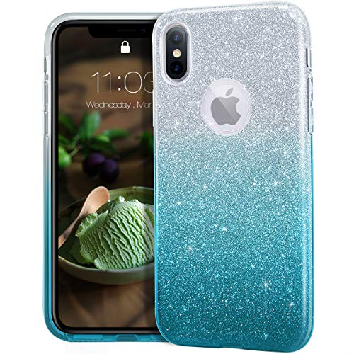 MATEPROX iPhone Xs case,iPhone X Glitter Bling Sparkle Cute Girls Women Protective Case for iPhone Xs/X 5.8' -Gradient Green