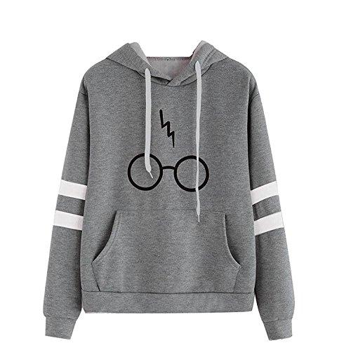 Damen Langarm Rundhals Kapuzenpullover Harry Potter Blitz Gläser Druck Hoodie Tasche Sweatshirt Pullover mit Kapuzen (Grau, S)