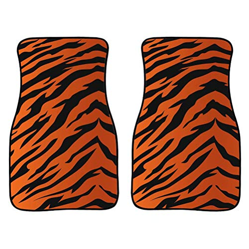Chaqlin - Alfombrillas de piel de tigre para coche, ajuste universal, 2 piezas/juego, solo fila frontal, protector para todo tipo de clima, alfombra antideslizante