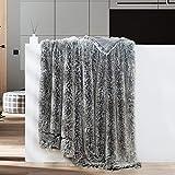 GONAAP Faux Fur Throw Blanket Decorative Super Soft Fuzzy Shaggy Luxurious Cozy Plush Fluffy Long Hair Comfy Microfiber Fleece Reversible for Coach Bed Chair Sofa Frosty Black 50' 60'
