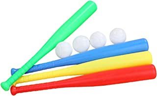 LIOOBO 4 Sets Plastic Baseball Bat Kit with Baseball Toy for Kids Children Outdoor Sports Red Yellow Blue Green Each Set