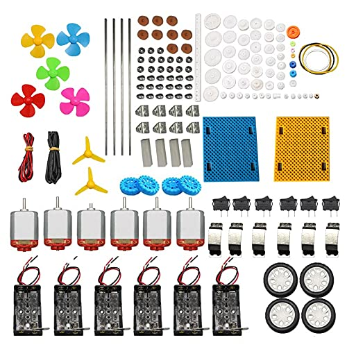 AOMAG DC Motors Kit for Kids, 6 Set 159pcs Mini Electric Hobby Motor Strong Magnetic with Plastic Gears, Shaft Propeller, Plastic Wheels for DIY STEM Engineering Toy Science Project