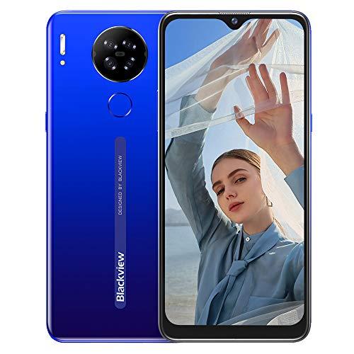 Blackview A80S Smartphone ohne Vertrag 4g, Octa-Core-Prozessor 4GB RAM + 64 GB, 6,21 Zoll HD+ Waterdrop Display, 13MP-Quad-Kamera, Großer 4200 mAh Akku, Android 10 Dual-SIM Handy (Mist Blau)