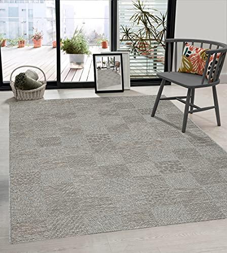 the carpet Calgary In- & Outdoor Teppich Flachgewebe, Modernes Design, Trendige Farben, Superflach, UV- und Witterungsbeständig, Grau-Beige, 80 x 150 cm