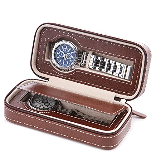 ROTAKUMA Reloj Organizador Caja con Cremallera PU Funda De Reloj De Cuero Portátil De Almacenamiento Portátil (Color : 2 Grids Coffee)