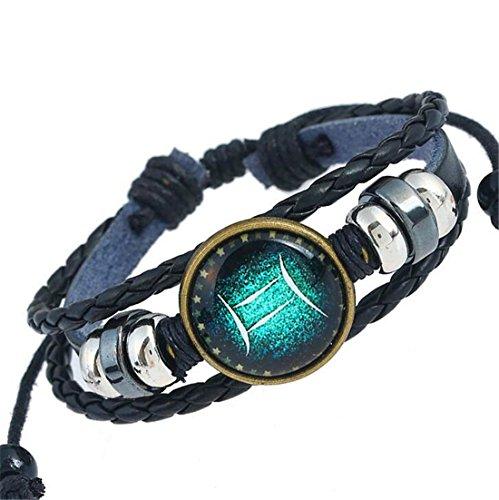 12 Sternzeichen Damen Herren Armband Leder mit Gravur Lederarmband Paare Seil Wristband Charms Armband Weinlese Verstellbar (Zwillinge-G)