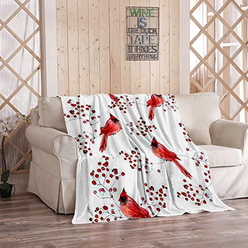 Kuidf Cardinal Birds Pattern Throw Blanket, Cute Winter and Berries Watercolor Flannel Bedding Blankets Decorative Cozy Soft Blanket for Bedroom Couch, 40x50 Inches