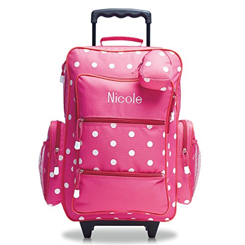 "Personalized Rolling Luggage for Kids – Pink Polka Dot Design, 6"" x 15.5' x 23'H, By Lillian Vernon"
