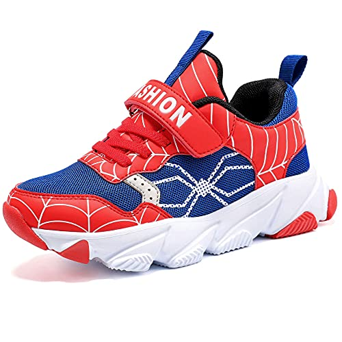 Scarpe Sportive Bambini e Ragazzi Scarpe da Corsa Ginnastica Respirabile Mesh Running Sneakers Fitness Casual(H Blu Rosso,36 EU)