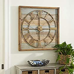 Deco 79 44444 Square Iron and Wood Wall Clock, 30 x 30, Brown/White/Cyan