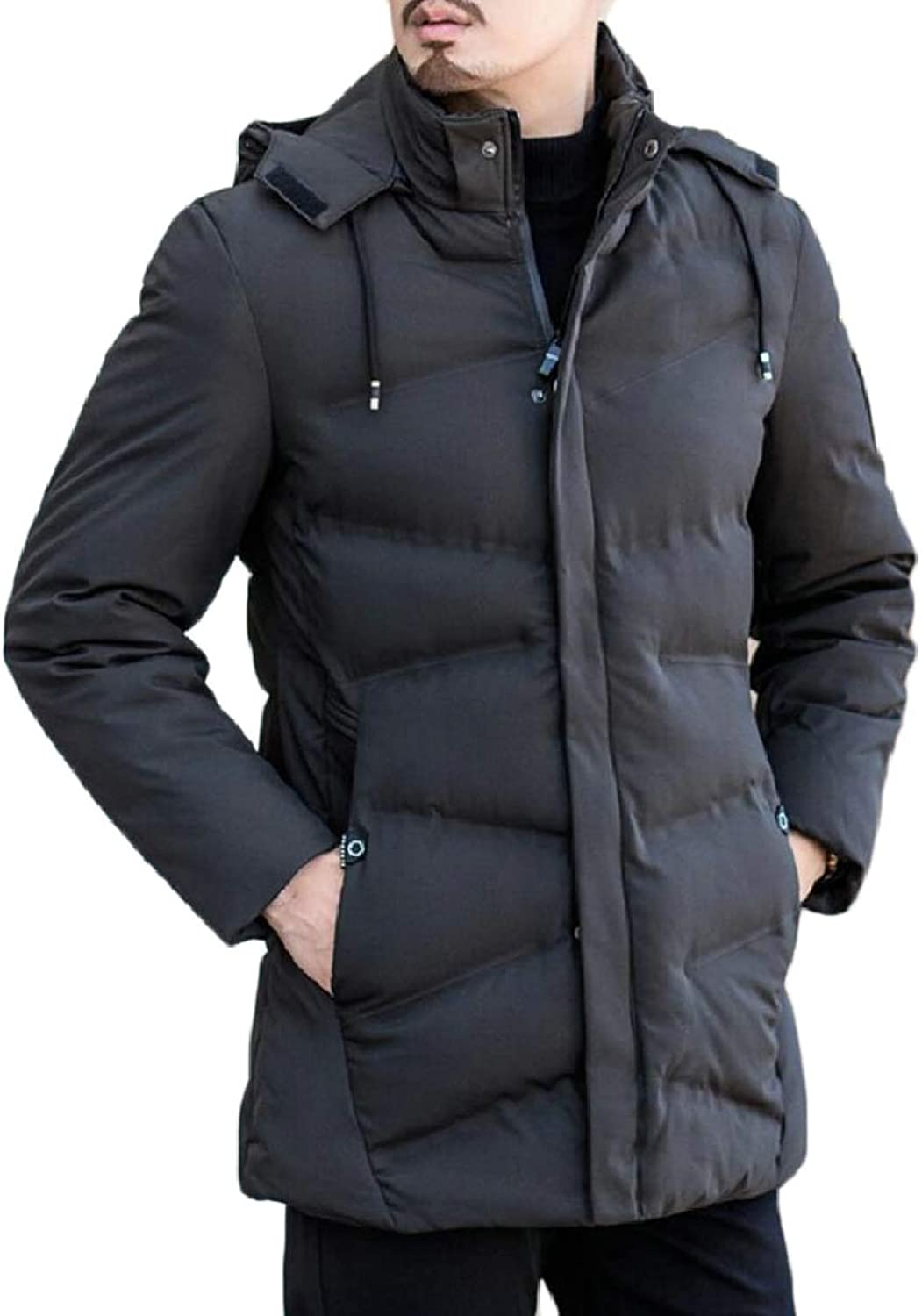 ee070798 ZXFHZS-CA Mens Front-Zip Padded Mid Mid Mid Long Big-Tall Thicken Outwear  Down Jacket Coat 071bef