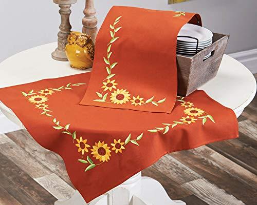 Kamaca - Kit per ricamo a punto croce, motivo: girasoli, in tessuto color terracotta, cotone e lino trafilato con disegno