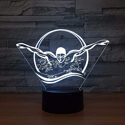 Zwemmen Acryl Led 3D Nachtlampje USB 7 Kleur Heks Afstandsbediening 3D Lamp Creatieve Baby Slapen Sfeer Lamp Beste Speelgoed Geschenken