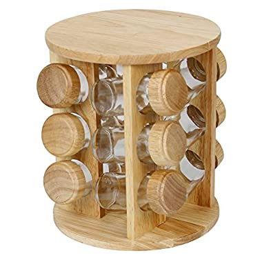 Evelyne Rubberwood Revolving Rotation Spice Rack with Glass Spice Jars (12)