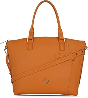 Baggit Spring-Summer 2021 Faux Leather Women's Tote Handbag (Orange) (Clooney)