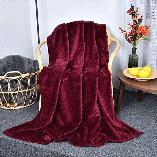 ZSW Mantas Manta Ligera de Franela cálida y acogedora de Forro Polar Suave para sofás/sofá/sillas/sofá 130 × 160 CM Rosa Claro-Vino Rojo