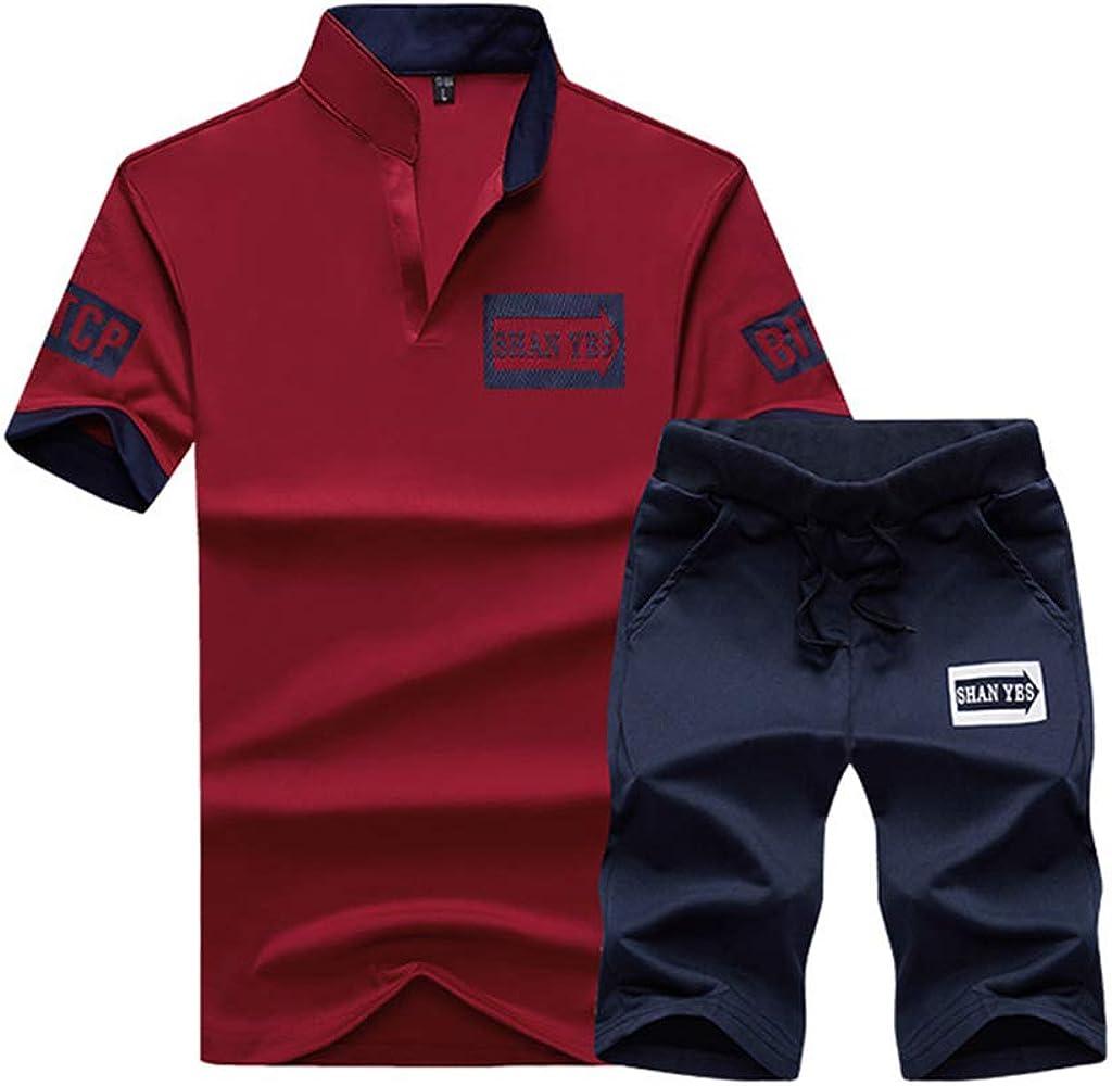Mens Casual Tracksuit Shorts Set Tshirts and Shorts Sports Set Running Jogging