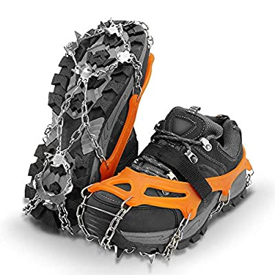 SUPTEMPO 19 Spikes Crampons Ice Snow Grips Traction Cleats System Safe Protect for Walking, Jogging, or Hiking on Snow and Ice (Fit M/L/XL Shoes/Boots) (Large)