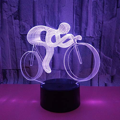 BFMBCHDJ New Bike 3D Nachtlicht USB Powered Bunte Touch LED Vision Licht Geschenk Dekoration Tischlampe A4 Weiß Riss Basis + Fernbedienung