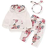 Baby Girls Long Sleeve Flowers Hoodie Tops and Pants Outfit with Floral Headband 12-18Months White