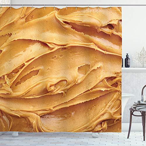 ABAKUHAUS Pindakaas Douchegordijn, Amerikaans ontbijt, stoffen badkamerdecoratieset met haakjes, 175 x 180 cm, Licht bruin