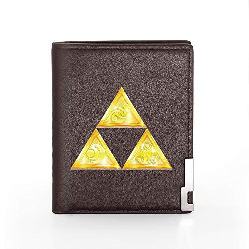 Zelda Nuevo Aeeivals Cool Zelda Triangle Printing Cartera de Cuero Hombres Mujeres Titular de la Tarjeta de crédito Plegable Monedero Corto Hombre