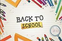 Assanu 学校に戻る背景10x6.5ftビニール写真の背景学習ツールカラー鉛筆ズーム定規学校の教室の生徒教師子供大人の写真写真背景スタジオ