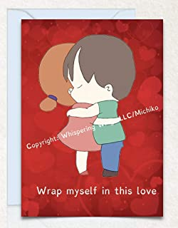 Boy Girl Hugging Birthday, Love, Valentine's Day, Anniversary, Hand Drawn Original Poetry Greeting Card