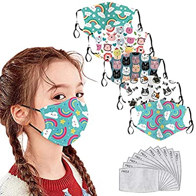 5PCS Pure Cotton Reusable Washable Face Bandanas - Dustproof Protective Face_Masks with 10 Activated Carbon Filter,Breathable Safety Cute Printed Face Visors for Kids Toddlers Students Back to Shool