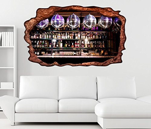 3D Wandtattoo Bar Alkohol Disko Nachtleben Party selbstklebend Wandbild Tattoo Wohnzimmer Wand Aufkleber 11L2229, Wandbild Größe F:ca. 97cmx57cm