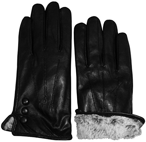 N'Ice Caps Womens and Mens Genuine Kid Leather Gloves with Plush Lining (Women's Large/X-Large, Black 1)