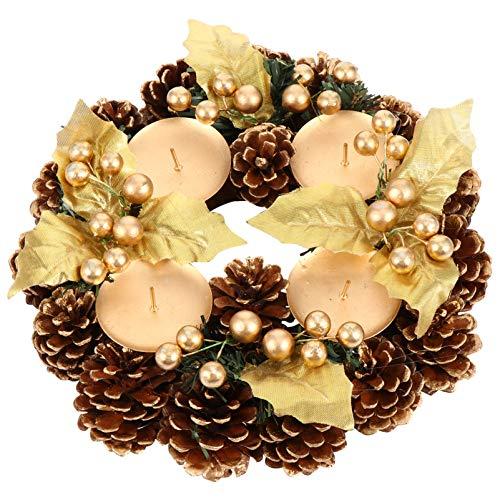 ABOOFAN Corona de Adviento de Navidad Cinta Coronas de Adviento Portavelas Votivas de Vacaciones con Piña Hojas de Baya Decoración de...